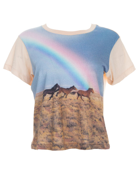 Horse With Rainbow Printed Tee - Petal Pink