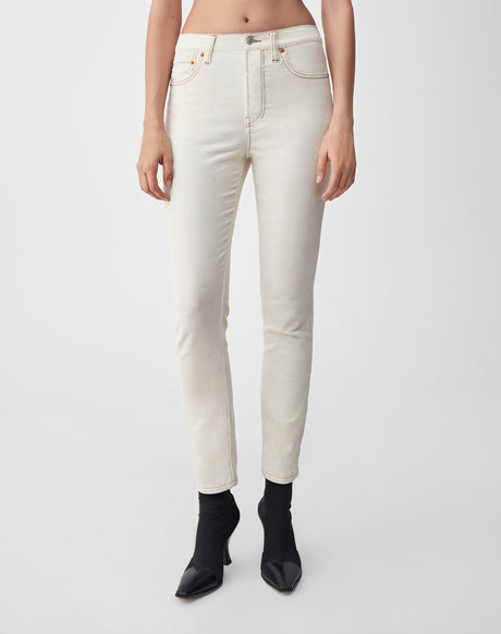 Corduroy Stretch High Rise Ankle Crop | Winter White | 807-3WHRAC | 1