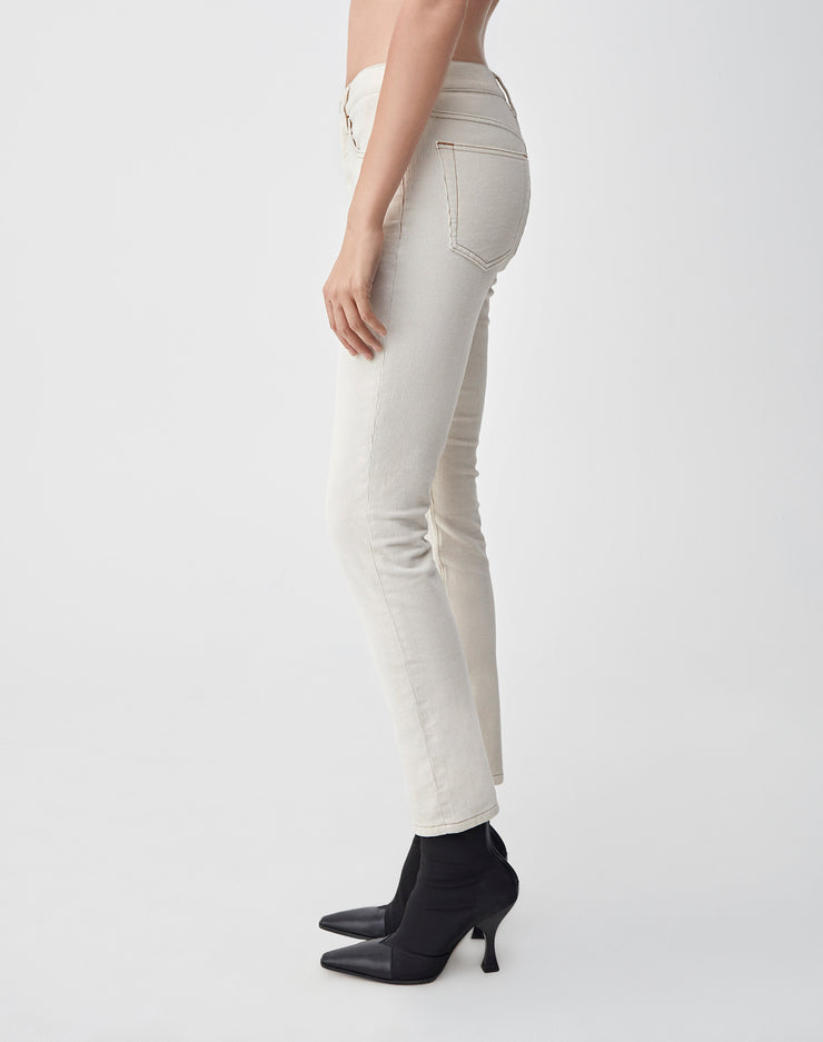 Corduroy Stretch High Rise Ankle Crop | Winter White | 807-3WHRAC | 3