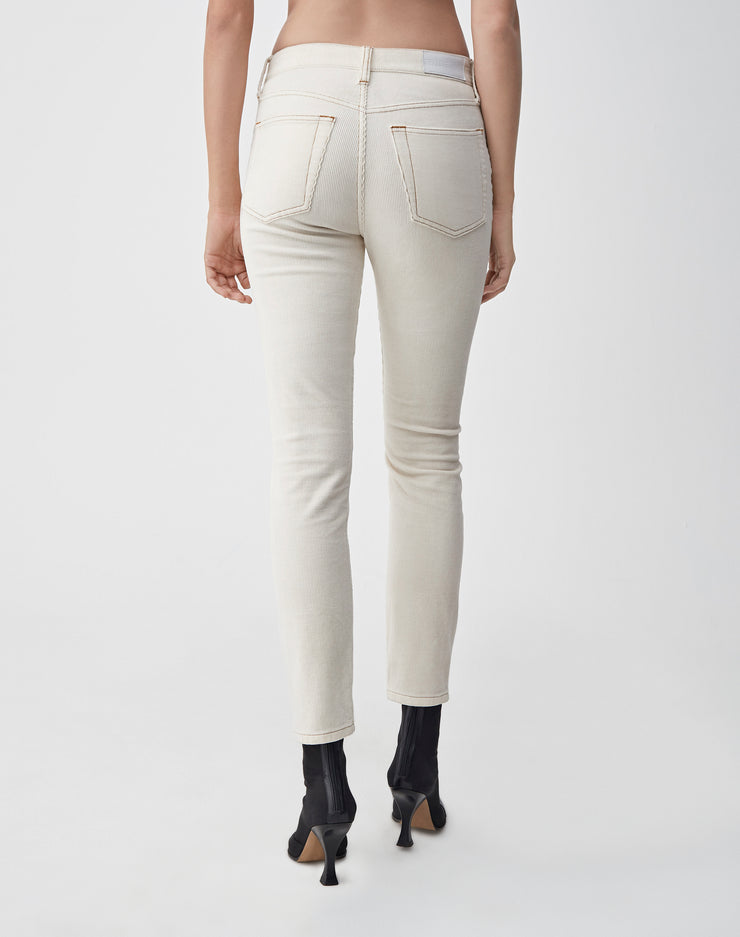 Corduroy Stretch High Rise Ankle Crop | Winter White | 807-3WHRAC | 4