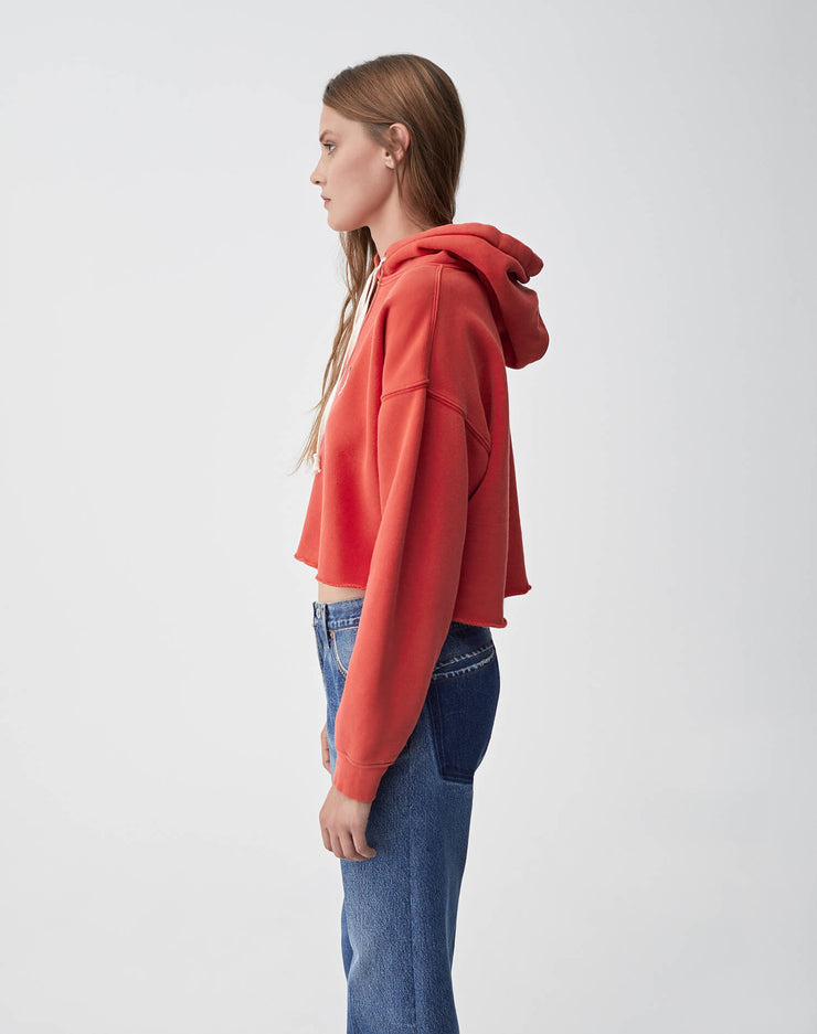 Cropped Raw Hoodie | Washed Red | 012-5WCRHH1 | 3