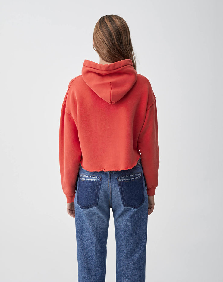 Cropped Raw Hoodie | Washed Red | 012-5WCRHH1 | 4