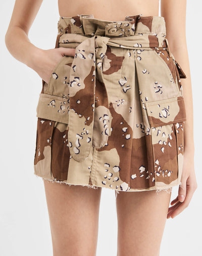 Pleated Camo Skirt - Sand Camo