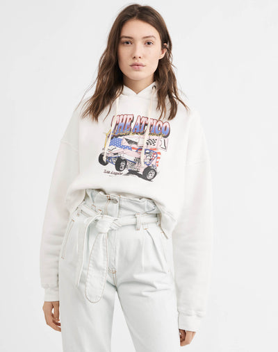 Cropped Hoodie w/ Car Print - Off White