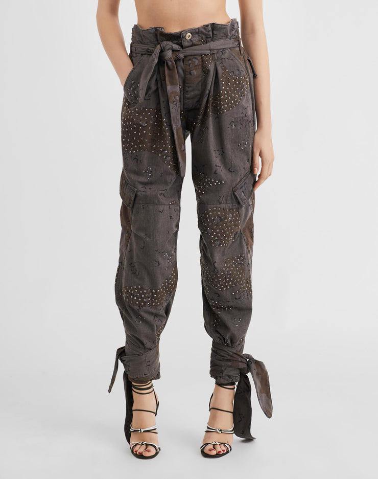 Pleated 80s High Rise Pant w/ Swarovski Crystals - Charcoal Camo