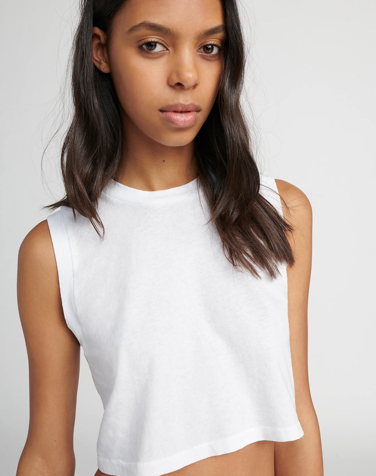 The 70s Cropped Muscle Tank - Optic White