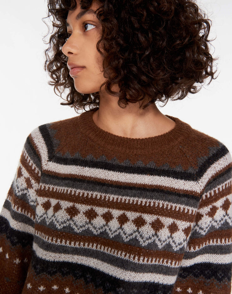 50s Raglan Crew Sweater - Brown
