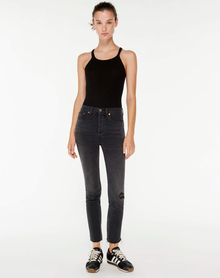 Power Stretch High Rise Ankle Crop - Lived In Black