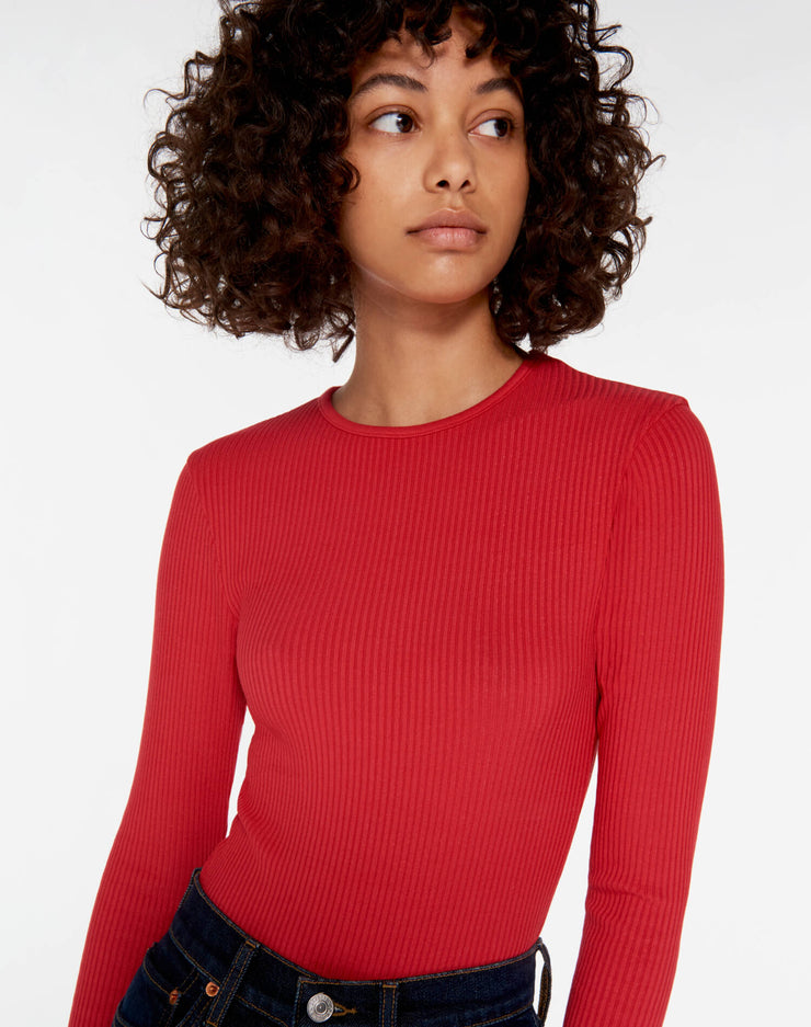 60s Ribbed Long Sleeve Bodysuit - Red Orange