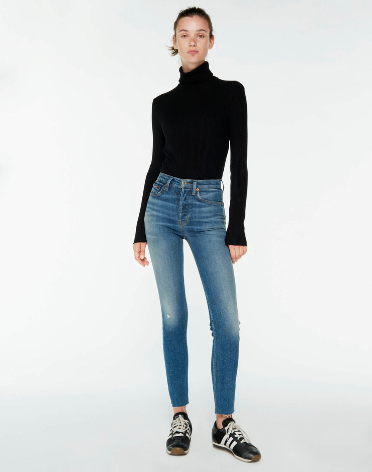 60s Ribbed Long Sleeve Turtleneck - Black
