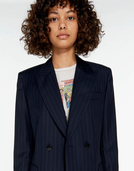 70s Double Breasted Blazer - Navy Pinstripe