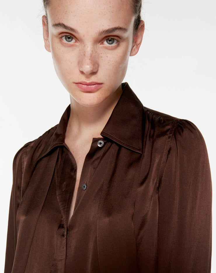 70s Tie Blouse - Chocolate