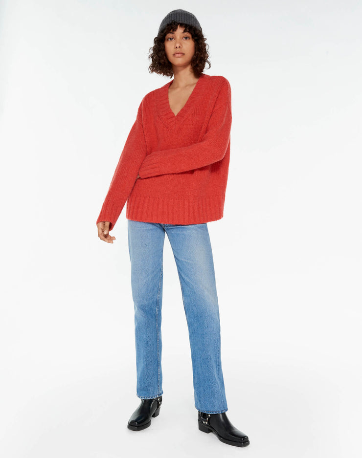90s Oversized V Neck - Red Orange
