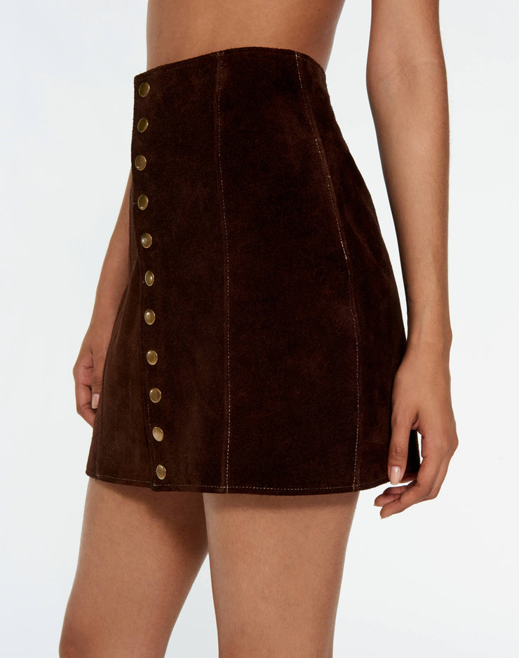 60s Snap Suede Skirt - Chocolate