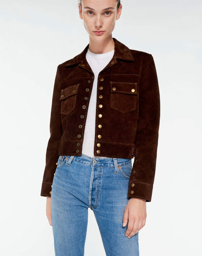 60s Snap Suede Jacket - Chocolate