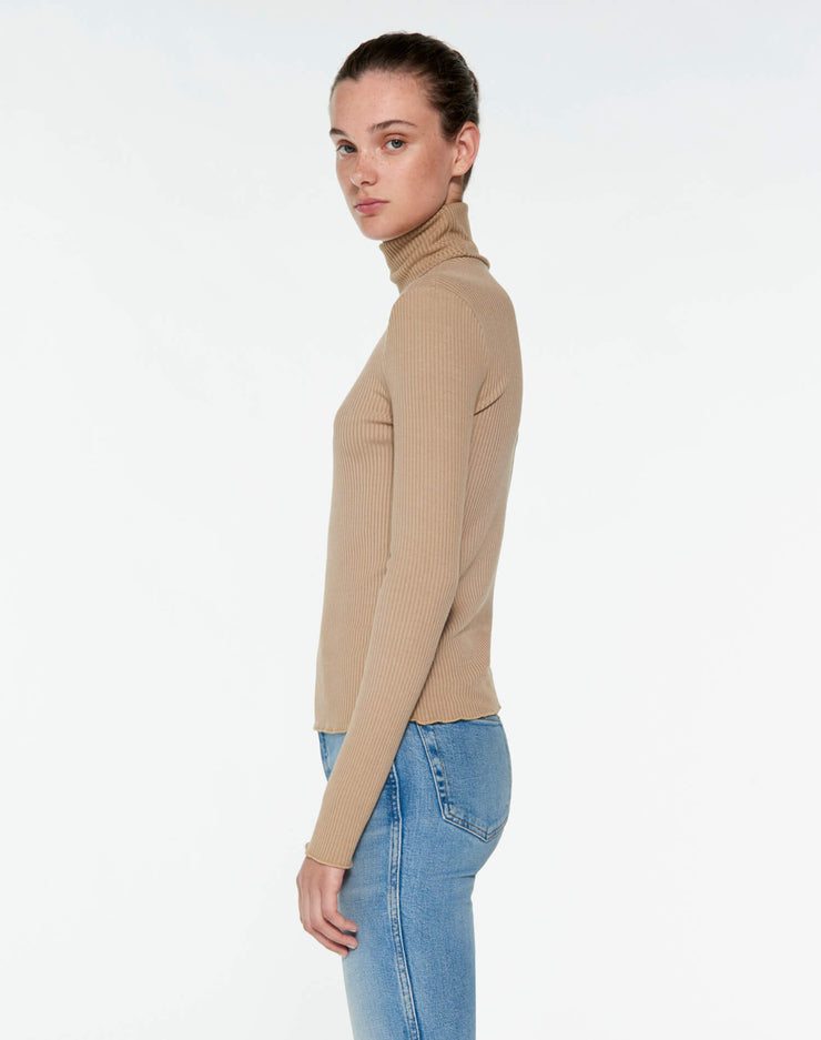 60s Ribbed Long Sleeve Turtleneck - Sand