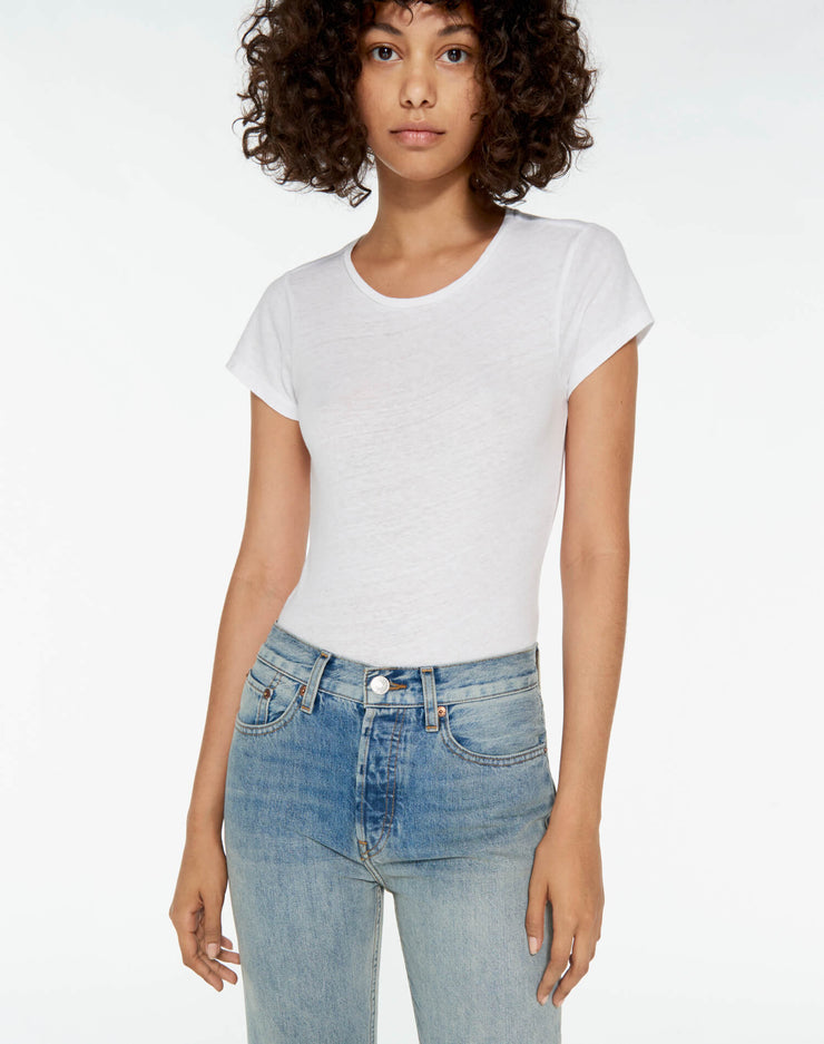 Heritage Cotton 1960's Slim Tee Bodysuit - Optic White