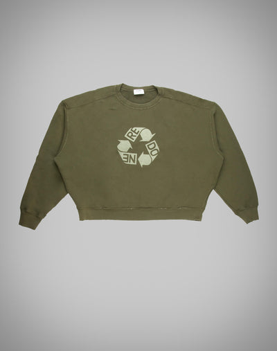 Recycle Crew Neck Logo - Forest Green