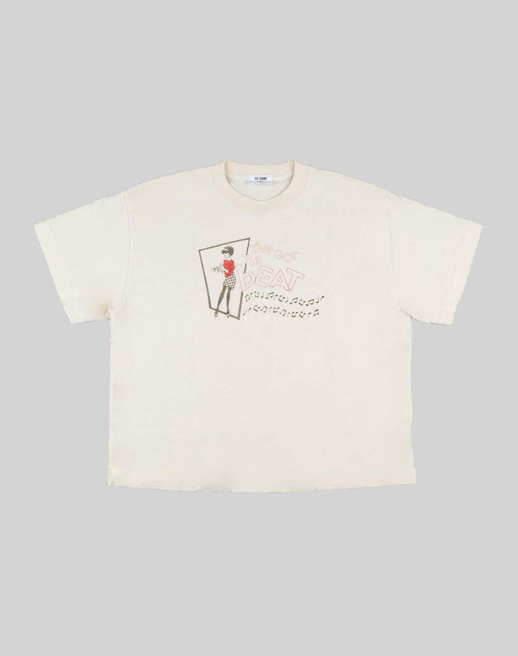 "The 90s Oversized Boxy ""I've got the Beat"" Tee - Vintage White"