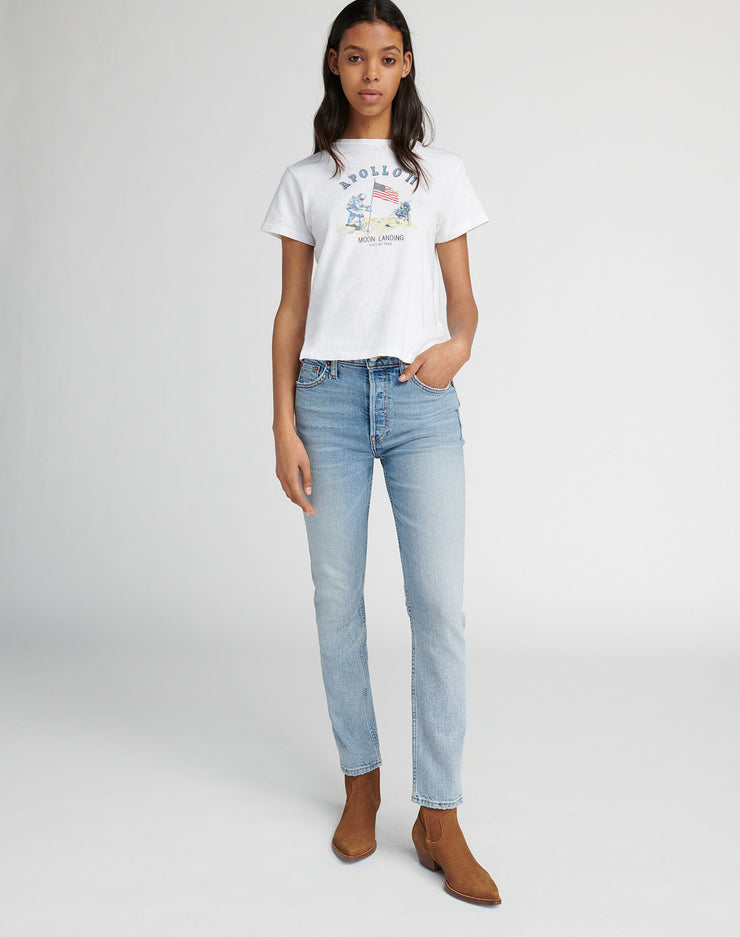 Comfort Stretch High Rise Ankle Crop - Pale Indigo