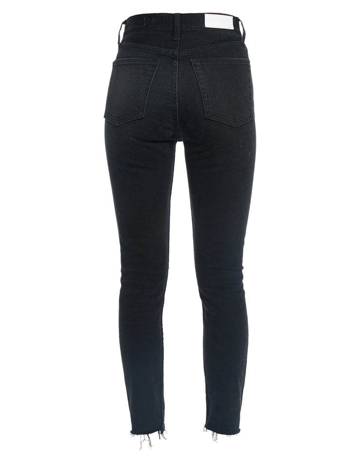 Comfort Stretch High Rise Ankle Crop - Black Destroy