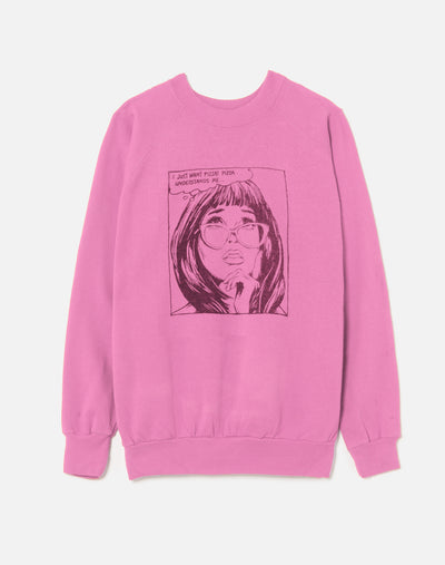 "Upcycled ""I Just Want Pizza"" Sweatshirt - Pink"