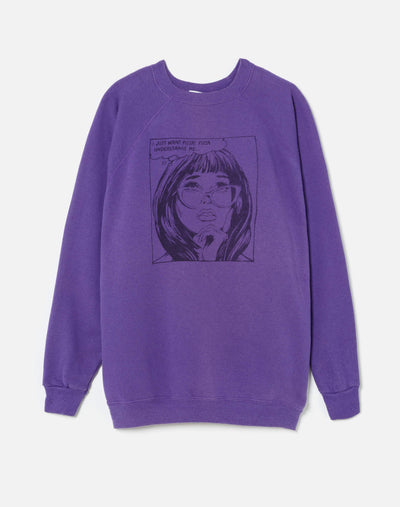 "Upcycled ""I Just Want Pizza"" Sweatshirt - Purple"