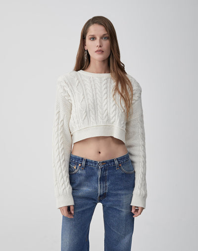 Cableknit Crop Sweater | Ivory | 503-7WCCS | 1