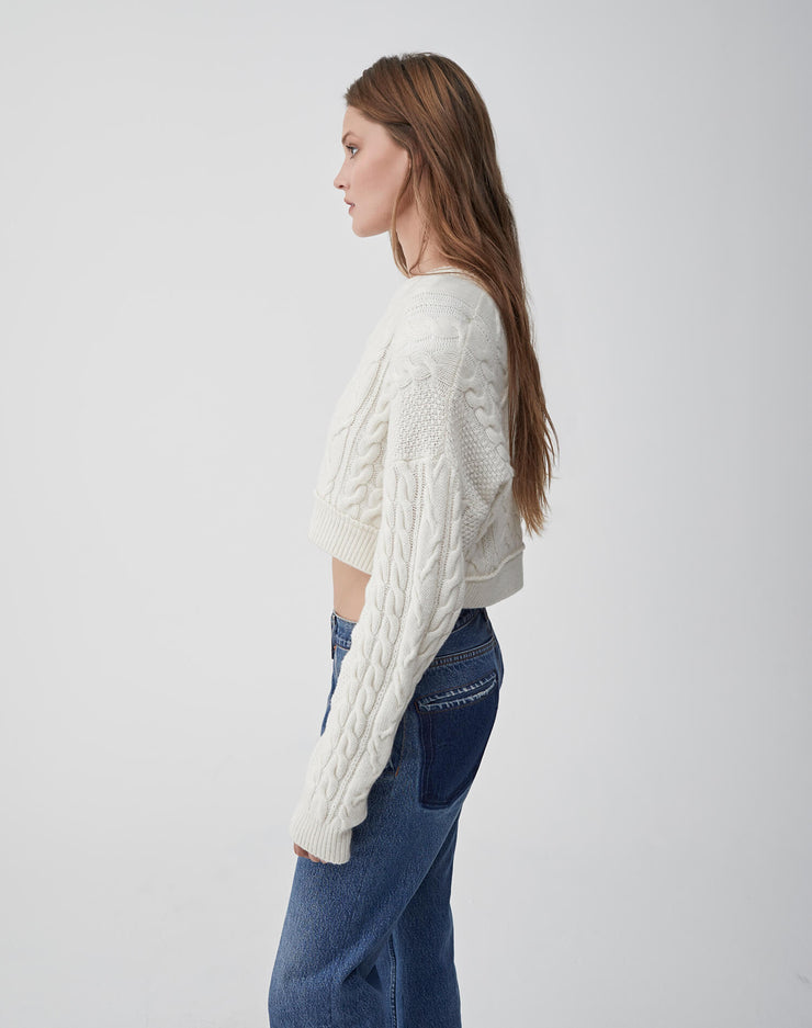 Cableknit Crop Sweater | Ivory | 503-7WCCS | 3