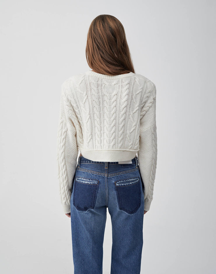 Cableknit Crop Sweater | Ivory | 503-7WCCS | 4