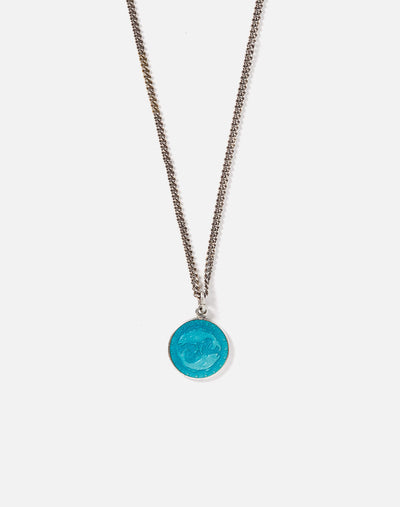 1960s Turquoise Enameled Pisces Necklace - #13
