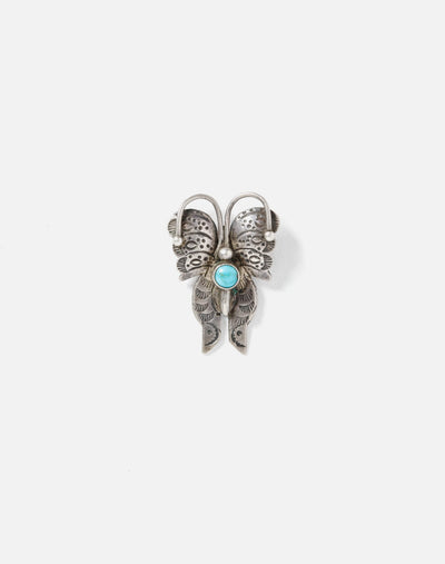 1940s Turquoise Navajo Butterfly Pin - #31