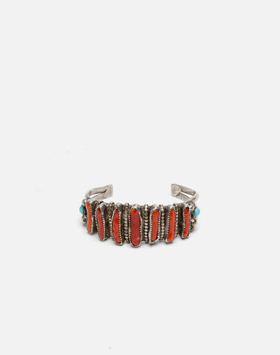 1970s Coral And Turquoise Navajo Bracelet - #33