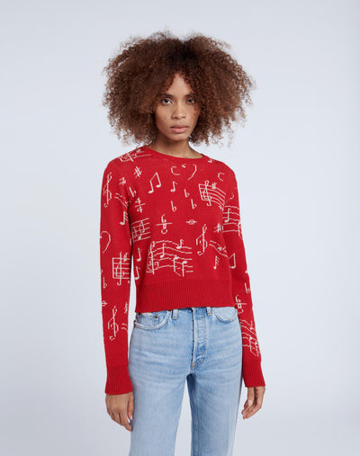 60s Shrunken Sweater - Red Musical Note