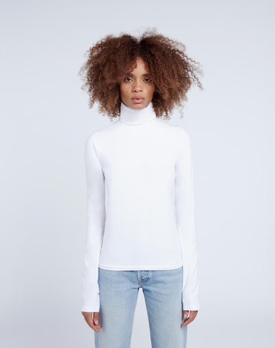 60s Long Sleeve Turtleneck - Optic White