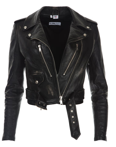 Leather Moto Jacket - Vintage Black
