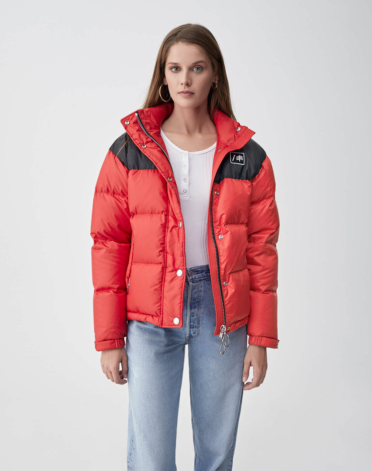 Cropped Puffer | Red & Black | 722-4WCP | 1