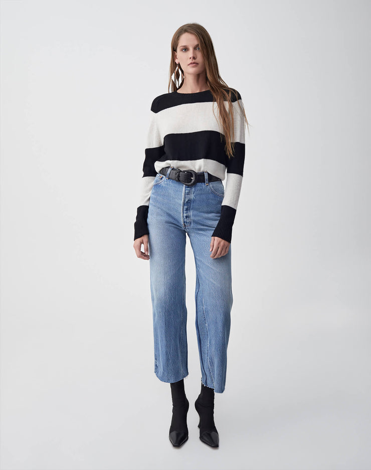 Striped Crew Neck Sweater | Black & Ivory | 507-7WSCS | 2