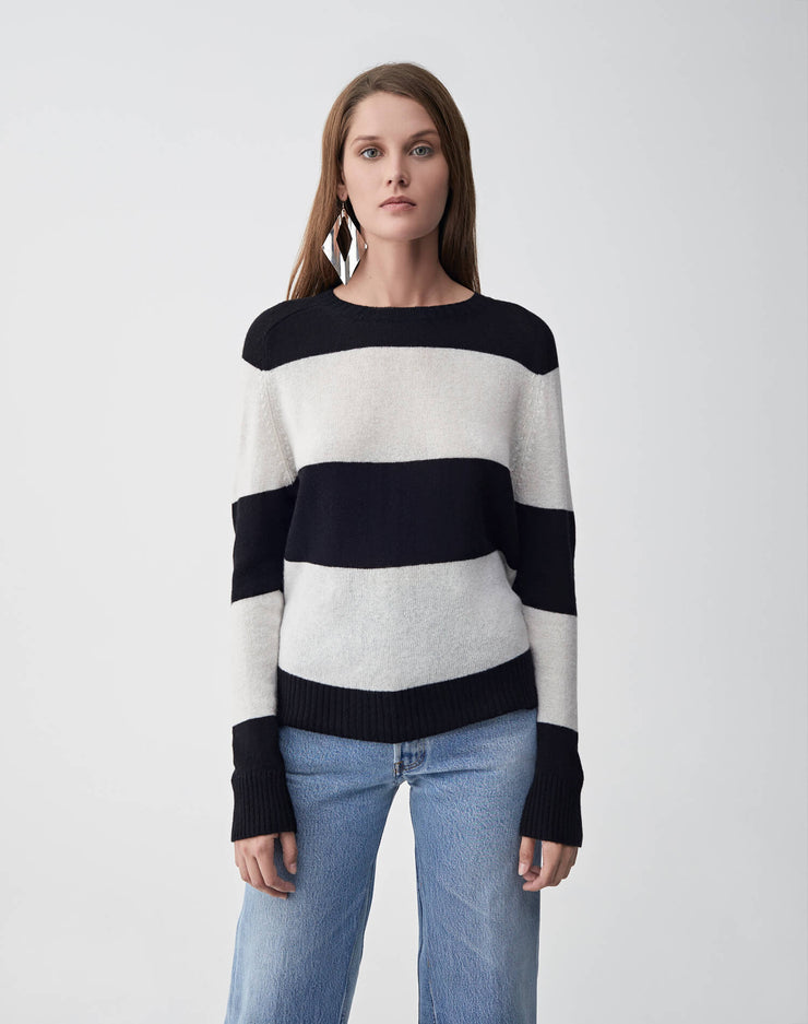 Striped Crew Neck Sweater | Black & Ivory | 507-7WSCS | 1