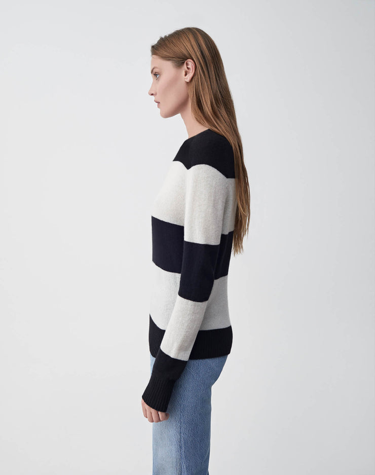Striped Crew Neck Sweater | Black & Ivory | 507-7WSCS | 3