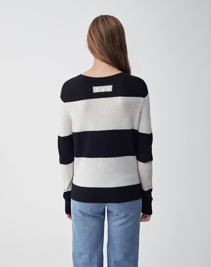 Striped Crew Neck Sweater | Black & Ivory | 507-7WSCS | 4