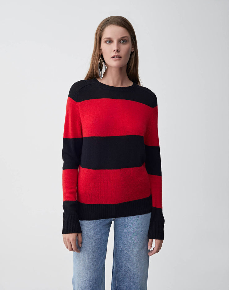 Striped Crew Neck Sweater | Black & Red | 507-7WSCS | 1