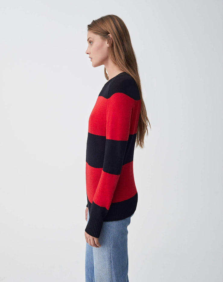 Striped Crew Neck Sweater | Black & Red | 507-7WSCS | 3