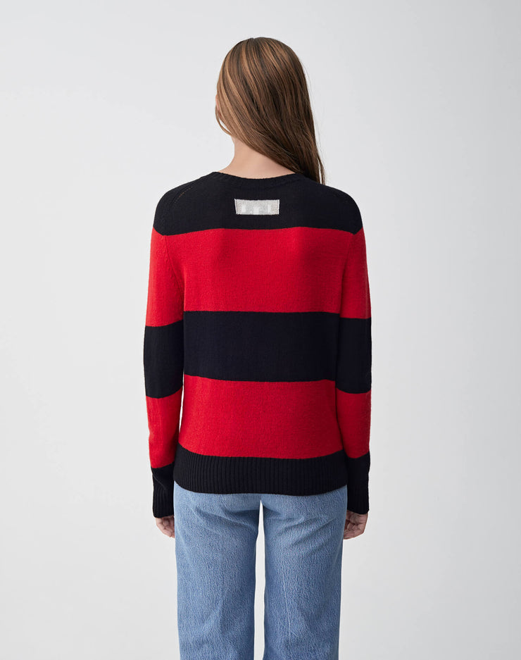 Striped Crew Neck Sweater | Black & Red | 507-7WSCS | 4
