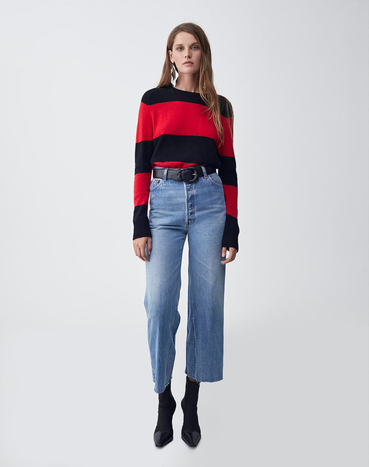 Striped Crew Neck Sweater | Black & Red | 507-7WSCS | 2