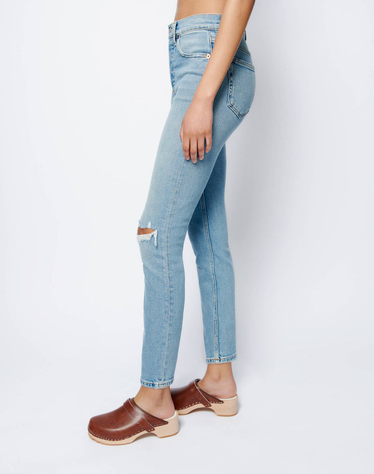 Comfort Stretch High Rise Ankle Crop - Worn Blue Destroy