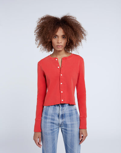 50s Cropped Button L/S - Vintage Red