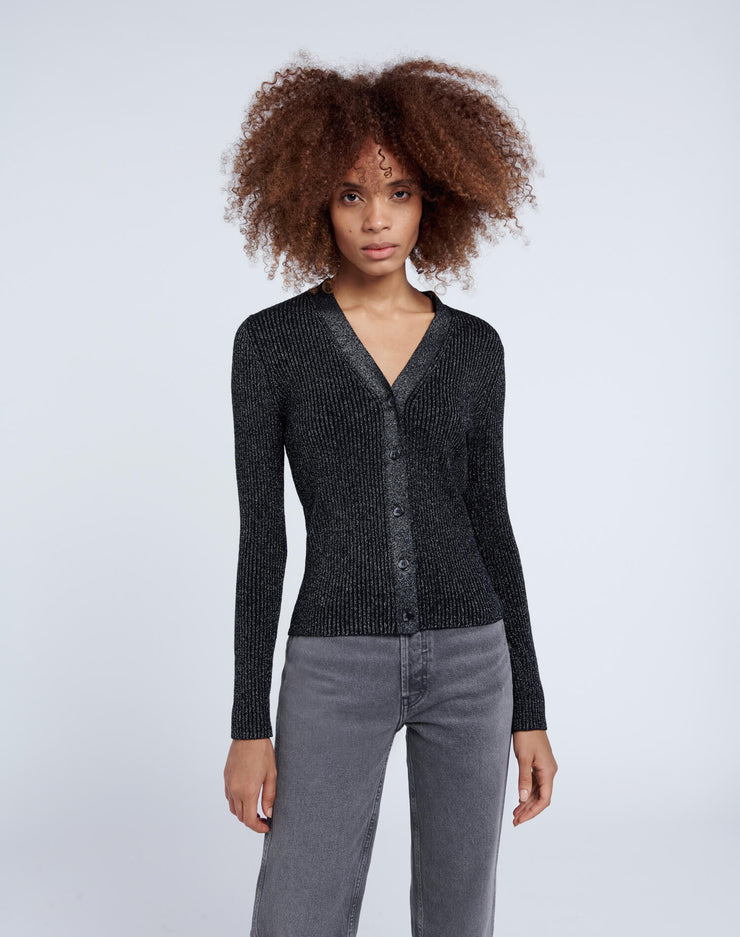60s Slim Cardigan - Black and Silver