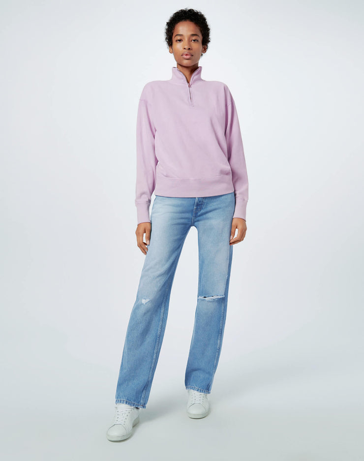 80s Half Zip Sweatshirt - Sunfaded Lilac