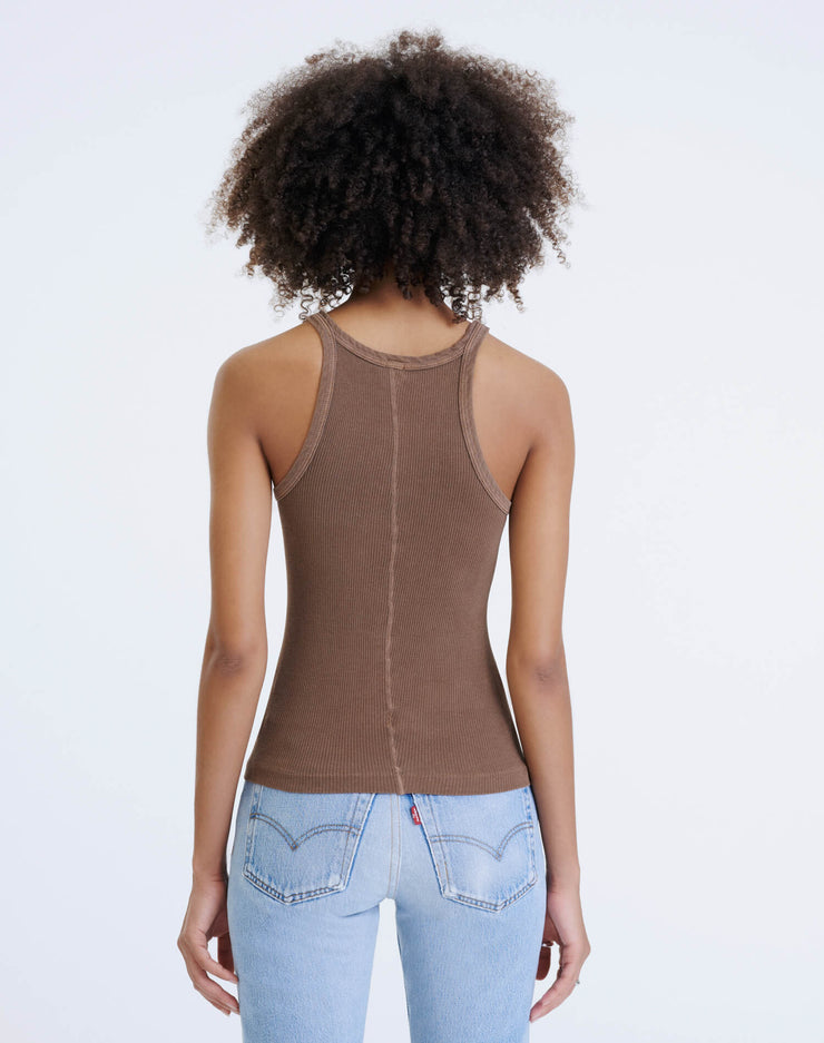 Ribbed Tank - Natural Tan Brown